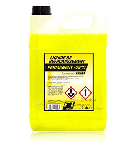Liquide de refroidissement Type D Jaune - 25°C 5L FL' Auto