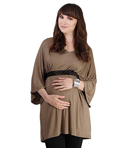 KRISP® Femmes Tunique Loose Manche Chauves- Souris avec Ceinture Collection Maternité Moka