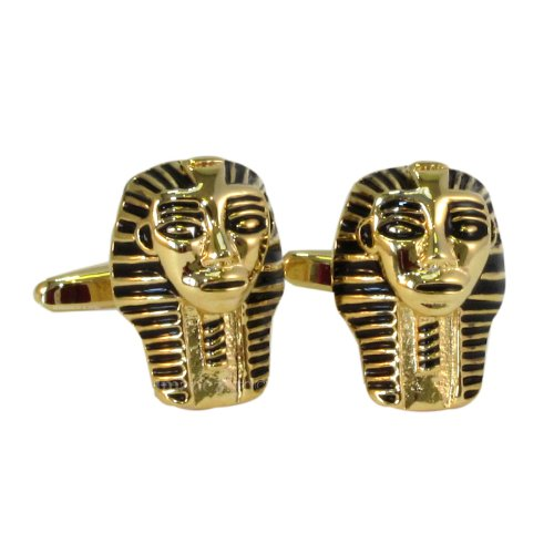 1StopShops Gold Farbige Pharoah 's Mask Manschettenknöpfe in Geschenkbox