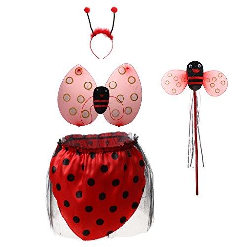 d Kinderkostüm + Zauberstab + Stirnband + rock Für Kinder Mädchen Halloween - 4pcs mit Rock, Eine Grösse passt allen (Ungewöhnliche Kind Halloween Kostüme)