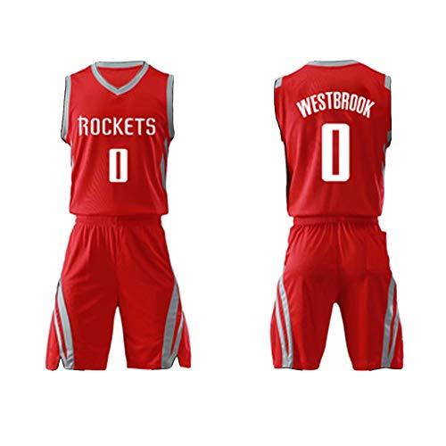 FUNBS Russell Westbrook No. 0 Basketballtrikot für Houston Rockets Trainingstrikot Basketballkostüm-Set Sport-Tank-Top Ärmellose T-Shirt-Shorts-red-XL