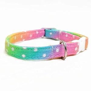 Katzenhalsband – Regenbogen Punkte