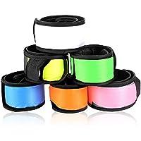 Ecandy 6 paquetes de LED de la palmada de la pulsera de la noche las luces reflectantes de seguridad Muñequera para correr, trotar, jugar, y Atando Cabello (rosa / naranja / amarillo / azul / blanco / verde)