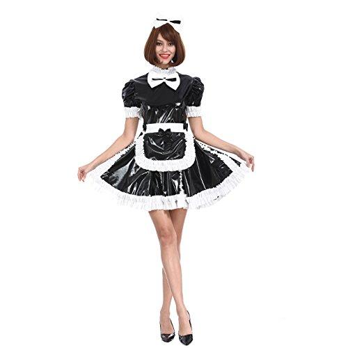 GOceBaby Sissy Mädchen Zofen Süße Schleife Schwarzes Abschließbares PVC Kleid Kreuzkleid (XXXL) -