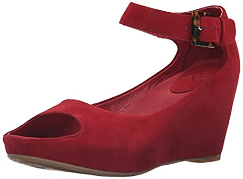 Johnston & Murphy Women's Tricia Ankle Strap Wedge Sandal, Dark Red, 6 M US