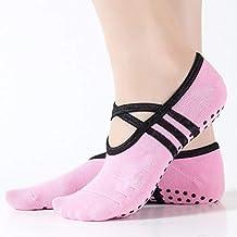 XRHYJW 3Pcs Calcetines De Yoga Deportes Calcetines De Yoga Zapatillas para Mujer Antideslizante Señora Amortiguación Vendaje