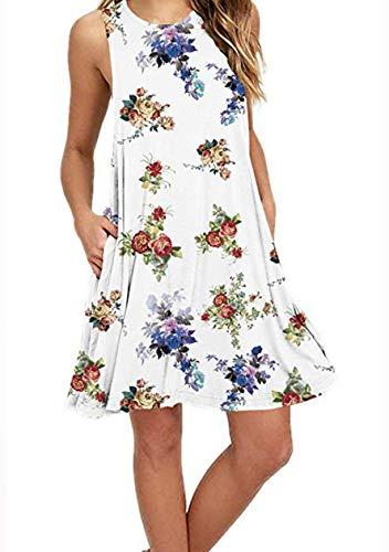 OMZIN Damen Ärmellos Longshirt Loose Sommerkleid Tanktops mit Taschen Vestkleid Casual,Weiß,L (Frauen Weiße Seide Hose)