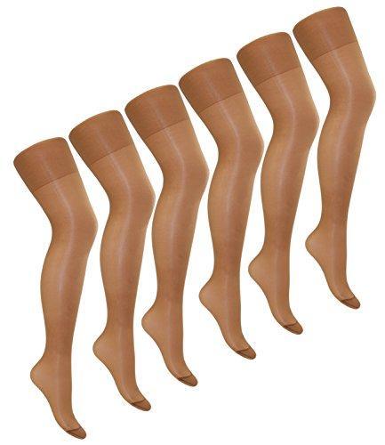 EveryHead Riese 6er Pack Feinstrumpfhosen Damenstrumpfhosen Sparpack Markenstrumpfhosen XXL Übergröße für Damen (RS-10224-S18-DA4-6x62-54/56) in 6er Marbella, Größe 54/56 inkl Hutfibel -