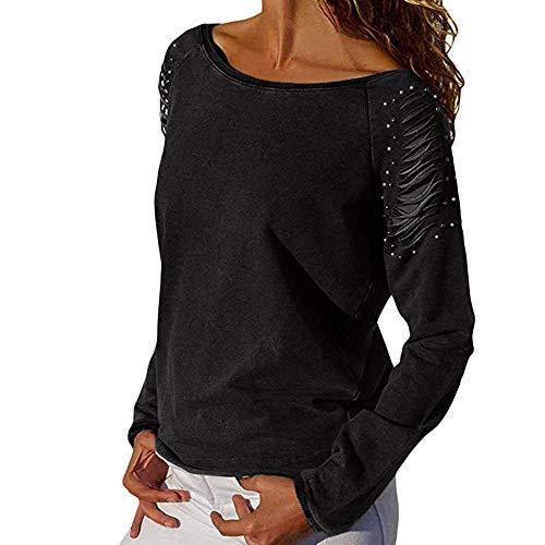 URIBAKY Damen Perlen Lange Ärmel Pullover rund Hals fest Farbe lässig T-Shirt Frühling und Herbst  Pullover Tops - Perlen Lange Ärmel T-shirt