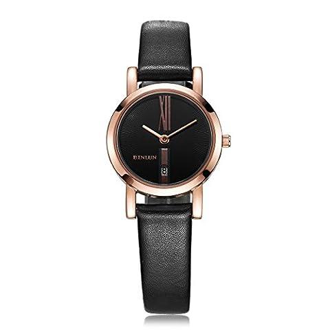 Binlun Femmes Dame Montre bracelet en cuir véritable avec petit Dial- Rose or