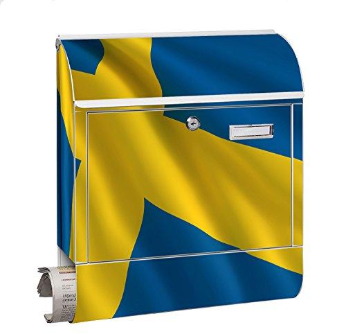 Design Motiv Briefkasten Maxi mit Zeitungsfach Zeitungsrolle für A4 Post slk shop Groß Flagge Schweden