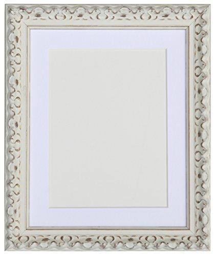 Tailored Frames-Vienna weiß, Vintage Bilderrahmen Shabby Chic Größe 80x 60cm für 70x 50cm mit weißem Passepartout
