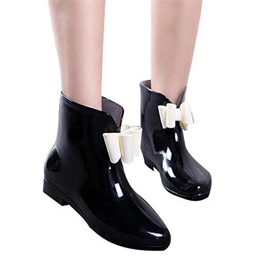 Gbadai Rain boots-Cute Short Bow Bowknot Rain Boots Rubber Flat Heel Ankle Rainboots