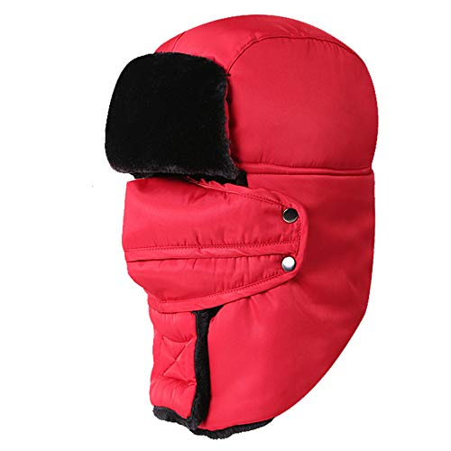 (XIAXIACP Bomberkappe, Winddichte Mütze Pilot Schneekappe Einteiliger Hut Trapper-Hut für Unisex-Balaclavas-Hüte mit Ohrenklappe Winterverdickung und Outdoor-Mundmaske,Red)