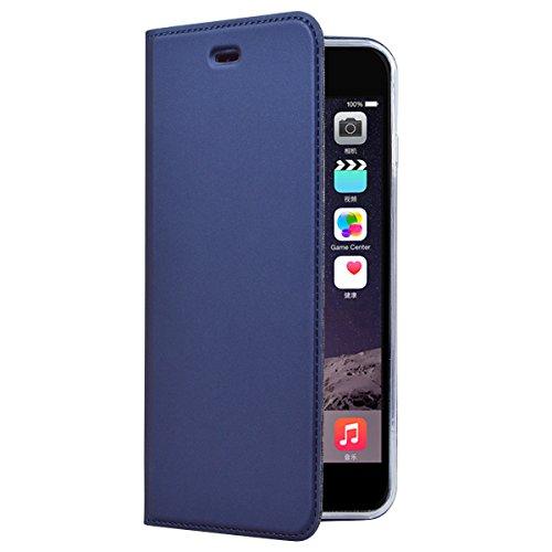 SMART LEGEND Lederhülle für iPhone 7 Ledertasche, iPhone 8 Hülle Rosegold Schutzhülle Premium PU Leder Flip Case Protective Cover Innere Transparent Weiche Silikon Bookcase Handy Tasche Schale mit Mag Blau