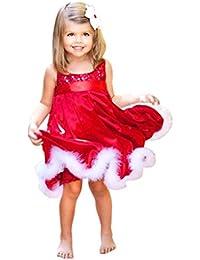 Robes de fille,Xinan Bébé Fête de Noël Filles Red Paillette Tutu Robes
