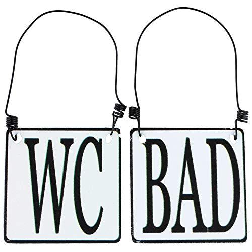 MACOSA SA8177 2er Set WC & Bad Tür-Schild Emaille-Optik Schwarz Weiß 8 x 8 cm Landhaus Metallschild Hinweisschild Draht-Aufhängung Deko-Accessoire -