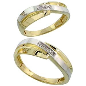 9ct Gold 2-Piece Diamond Wedding Band Set, His (7mm) & Hers (6mm), Ladies Size J