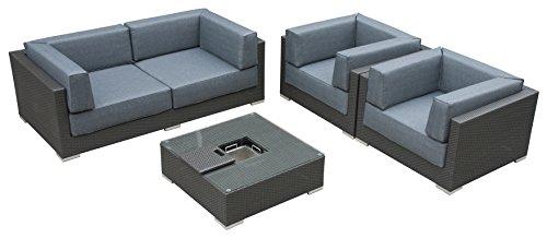 Maze Rattan mon-702515Monaco Tief Platz Sofa-Set mit Luxus Rundum Ice Bucket Couchtisch in einem Geflecht-MIXED grau - Gewebte Alle Wetter Wicker