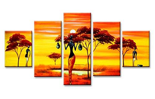 Visario 5584 Bilder und Kunstdrucke auf Leinwand Bild 160 x 80 cm Afrika fünfteilig