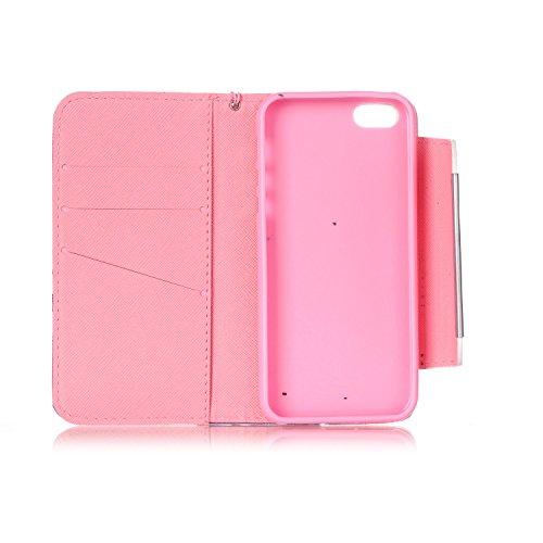 Kio iPhone 5S/SE, motivo: dipinto di viso, custodia a portafoglio con cinghia, per iPhone 5S e SE, in pelle PU, a portafoglio, con funzione di supporto, chiusura magnetica, con porta carte di credito, P-11