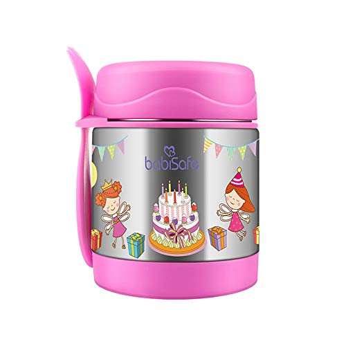 Baby Bucket Food Jar/Thermos with Spoon for Baby and Toddlers, Stainless Steel -300ml (Pink)