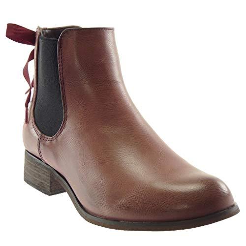 Angkorly - Damen Schuhe Stiefeletten - Chelsea Boots - Reitstiefel Kavalier - Vintage-Stil - Schnürsenkel aus Satin Blockabsatz 3.5 cm - Rosa F911 T 38