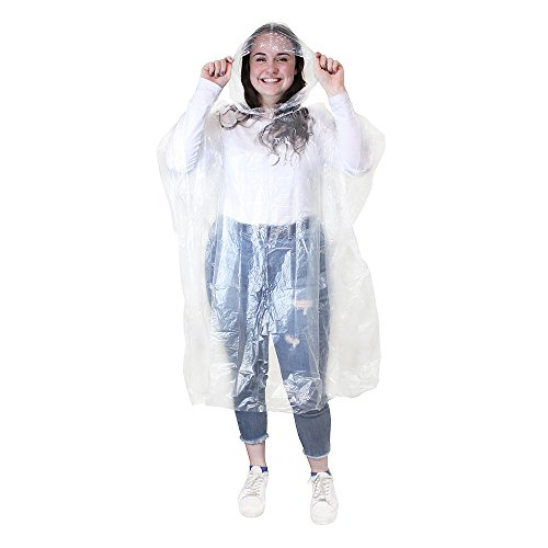 Pack of 5 Adult Disposable Emergency Waterproof Rain Ponchos with Hoods for Festivals, Camping & Theme Parks By Sunshine D