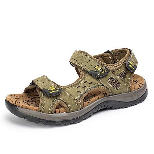 Liushoes Männer Sport Leder Sandalen atmungsaktiv Fischer Wandern Open Toe Hausschuhe Mode verstellbaren leichten Riemen Schuhe for Walking Beach (Color : Green, Größe : 10.5(US) 45(EU) 9.5(UK)) -