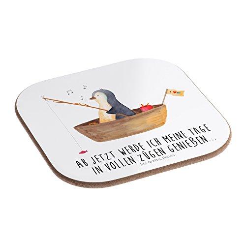 Mr. & Mrs. Panda Glasuntersetzer, Quadrat, Quadratische Untersetzer Pinguin Angelboot mit Spruch - Farbe Weiß