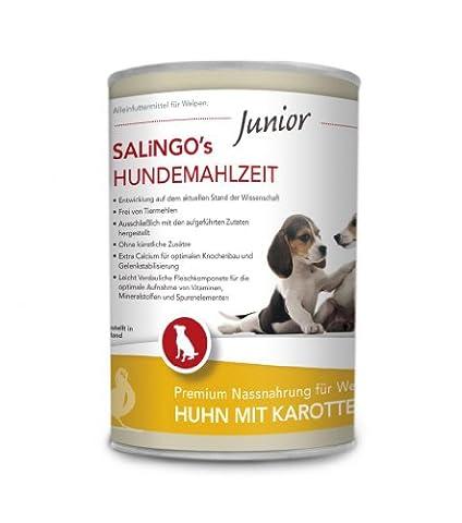 SALiNGO Hundefutter für Welpen, nass, Huhn mit Karotte und Calcium (400g) (Aktion Welpen)