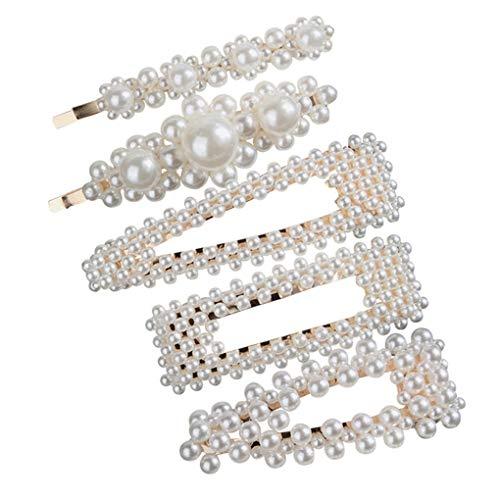 Haarschmuck/Dorical Damen Hochzeit Haarspange Braut Gold Perlen Schleife Glitzer Accessoires/Geburtstags Geschenk Party Zubehör Großer Spitzer Clip für Mama Frauen Mädchen (One Size, Z 5Pcs -R)