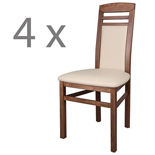 Schwarzwald Massivholz Esszimmerstuhl ST44 Arno Qualitätsstuhl belastbar bis 150 kg (4 Stühle, Nussbaum/Beige)