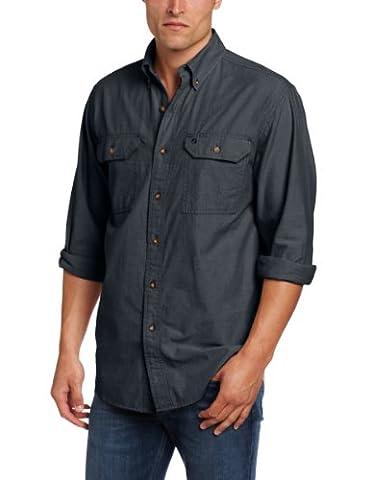 Carhartt Fort Solid .S202.BKC.S006 Langärmliges Shirt, Chambray-Stoff, Farbe: Schwarz, Größe: L