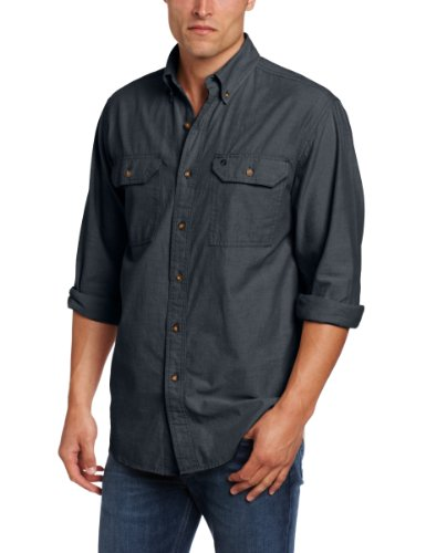 Carhartt Herren Fort leicht Chambray Knopfleiste Relaxed Fit LS Shirt S202, XXL, Black Chambray, 1 (Button-down Baumwoll-arbeitshemd)