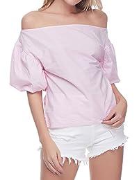 GAMISS Mujer Blusa Sin Tirantes Camisetas de Mangas Linterna Rosa Azul S-2XL