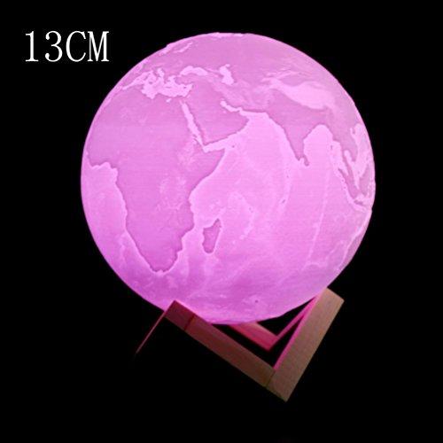 Ansenesna 3D USB tir à la main Lumières Terre Nuit Lumière LuminousTable Bureau Terre Lampe Cadeau (13CM)