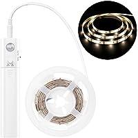 MoKo Nocturna LED Lámpara, 1M 30 LED Flexible con el Sensor de Movimiento, Luz de Noche Elegante Impermeable para Armario, Cocina, Dormitorio, Sótano, Corredor, Escalera - Blanco Natural