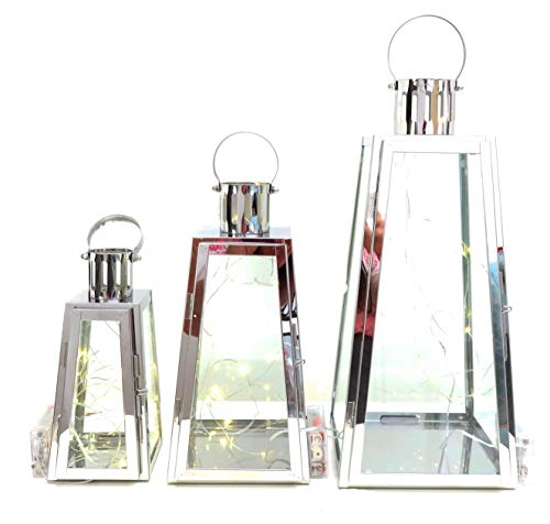 Conjunto de 3 faroles de metal y cristal con luces LED (Triangular) chapado...