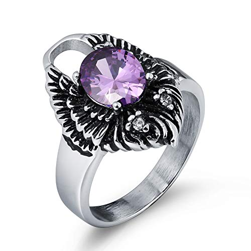 AnazoZ Modeschmuck Herren Ring Edelstahl Fingerring Bandring Oval Feder Kristall Lila Geschenk für Männer Junge Ringgr. 65 (20.7) mit Geschenkbox (Fantasy Junge Tube)