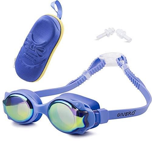 Clarashop Schwimmbrille-Kids Wasserdichte Brille mit UV-Schutz Anti-Fog Blue Brille