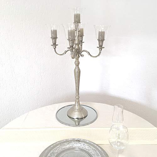 Dekowelten Kerzenleuchter Kerzenständer 74er Big Bündel 63cm Hammerschlag inkl. 5 x Glasaufsatz 11cm Silber