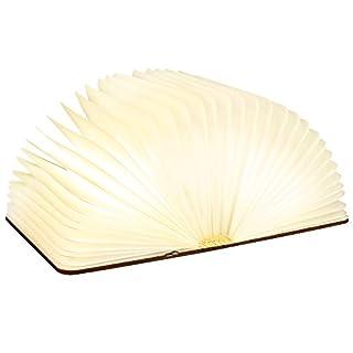 Sailnovo LED Buchlampe 4.4W Dimmbare Nachttischlampe Tischlampen, Dekorative Lampen Braunes Papier Holz Einband 360° Faltbar