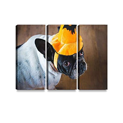 Trucken Kunst Dog in Disguise for Halloween Leinwanddrucke Wandkunst Hängen Gemälde Moderne Kunstwerke Abstrakte Bild Dekoration Geschenk Einzigartig Gestaltet mit Holzrahmen 3-teilig