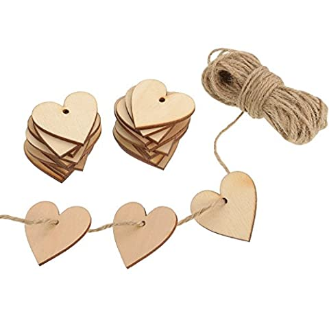 Outus 100 Pieces Wood Heart Blank Wooden Heart Embellishments 40