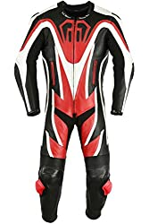Einteiler Motorradkombi Motorrad Lederkombi aus Rindsleder echtleder Kombi Rot, Größe:54