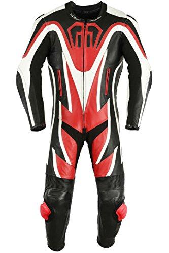 Einteiler Motorradkombi Motorrad Lederkombi aus Rindsleder echtleder Kombi Rot, Größe:60
