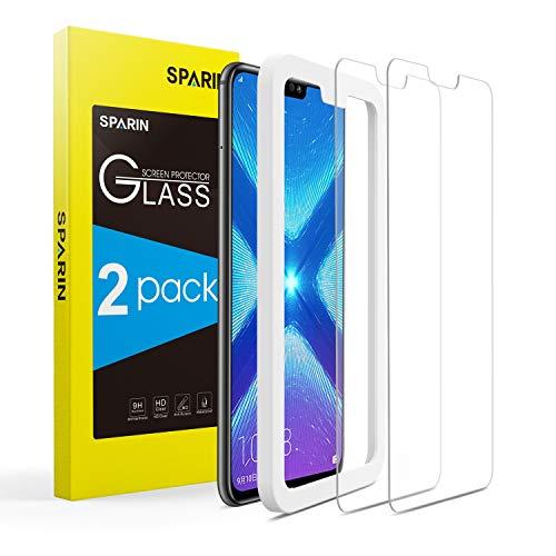 SPARIN [2 Stück] Huawei Honor 8X Panzerglas, Schutzfolie Bildschirmschutzfolie mit [9H Härte] [Anti-Kratzen] [Blasenfrei] [2.5D Rand] [HD Klar]