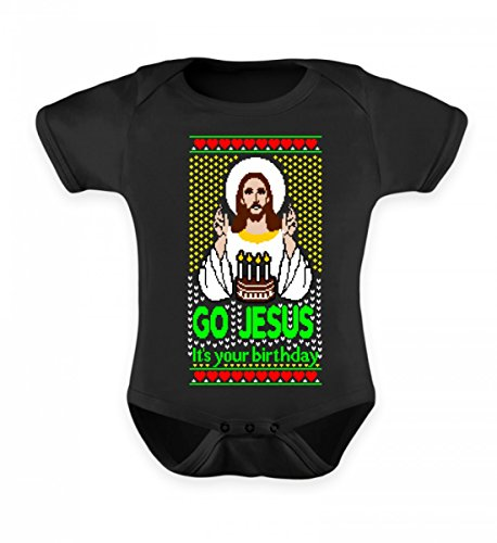 Hochwertiges Baby Lätzchen - Lustiges Go Jesus Ugly Christmas Sweater (Jesus Baby Weihnachten)