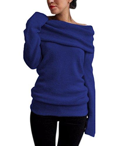 ZANZEA Damen Sexy Langarm Off Shoulder Cardigan Asymmetrisch Pullover Strick Langshirt Bluse Top (EU 36, Blau 1)